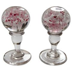 Pair of 19th Century Glass Chimney Piece Ornaments