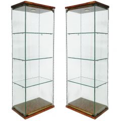 Pair of Pierre Vandel Vitrines French Midcentury Illuminated Showcase Cabinet