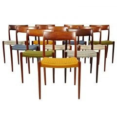 Niels Otto Moller Rosewood Dining Chairs in Original Woven Coloured Cord Seats