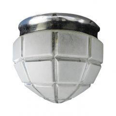 Art Deco Flush Mount Ceiling Light Large Frosted Glass Globe Shade, circa 1930