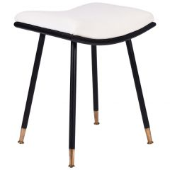 Italian Midcentury Brass and Black Iron Stool