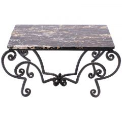 Wrought Iron and Black Portoro Marble Coffee Table
