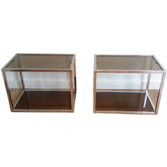 Pair Of Chrome Side Tables With Smoked Glass