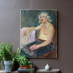 Mid Century Oil On Canvas Portrait Painting Of Seated Male