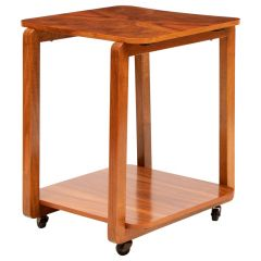 Art Deco Figured Walnut Two-Tier Cocktail Table on Casters