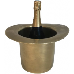 UNUSUAL BRASS TOP HAT CHAMPAGNE BUCKET. FRENCH
