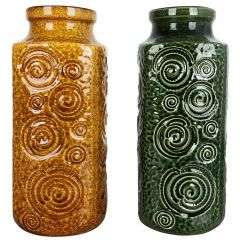 "Set of Two Pottery Fat Lava Vases Jura ""282-26"" Made by Scheurich, Germany 1970s"