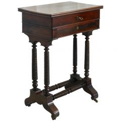 19th Century Sewing Table Louis Philippe Mahogany Escritoire and Work Table