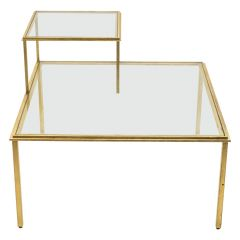 Roger Thibier Gilt Wrought Iron Glass Coffee End Table, 1960s