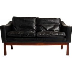 Mid Century Sofa in Leather & Rosewood by Poul Jessen, Danish 1960's