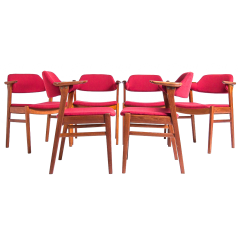 Set of Mid Century Dining Chairs in Teak by C.E. Ekstrom, Swedish 1950's