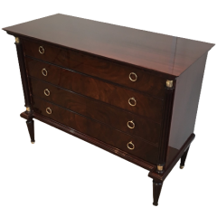 NEOCLASSICAL MAHOGANY AND BRASS COMMODE
