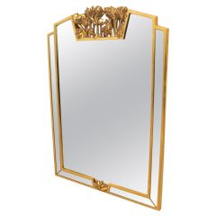 Elegant Giltwood Flowered Mirror by Deknudt, Belgium