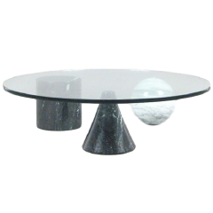 Round coffee table 'Metafora' by Massimo & Lella Vignelli in Marble and Glass, 1980s