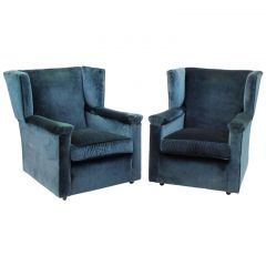 Pair of English Wingback Armchairs, 1930s