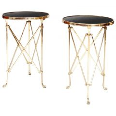 Pair of Polished Brass and Marble Lamp End Tables