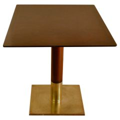 Mid-Century Modern Square Dining Table on Centre Base and Bronze Foot