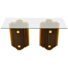 1970s Sculptural Italian Amber Glass Console of Table in Style of Cristal Arte