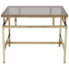 Maison Jansen Style Brass and Smoked Glass Coffee Table