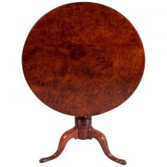 Rare 18th Century Mid Georgian Solid Burr Yew Tilt-Top Table
