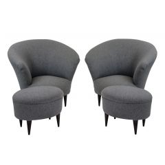 A Pair Of Parisi Armchairs & Matching Foot Stools