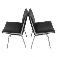 1960s Hans J. Wegner Set of Two Airport Lounge Chairs in Black by A.P. Stolen