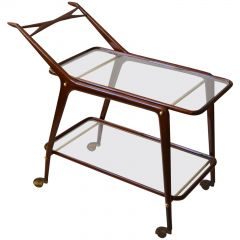 1950s Mahogany Cocktail Trolley in the Style of Cesare Lacca, Cassina Italy