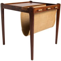 Mid Century Side Table/Magazine Rack in Rosewood & Canvas, Danish 1960's
