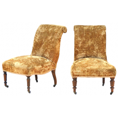 Pair Of Slipper Chairs Late 19Th Century French Scrollback Includes Recovering