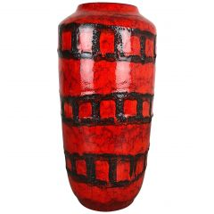 Large Pottery Super Fat Lava Multi-Color 517-45 Vase Made by Scheurich, 1970s