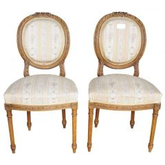 Pair of Early 1900s Gustavian Carved Canework Dining Chairs