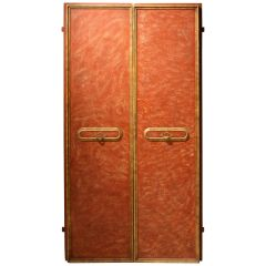 Italian 20th Century Faux Red Porphyry Lacquered and Gilt Framed Wood Doors