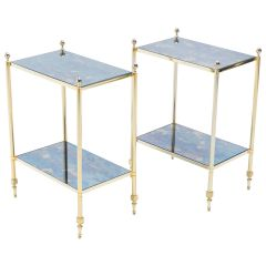 Pair of French Maison Jansen Brass Mirrored Two-Tier End Tables, 1960s