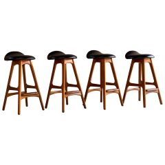 Erik Buch Teak & Rosewood Bar Stools Model OD-61 Set of Four Oddense Møbelfabrik