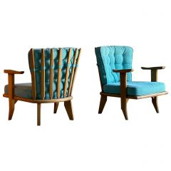 Guillerme & Chambron Armchairs Lounge Chairs, France, circa 1950s