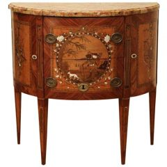 18th Century Louis XVI French Demi Lune Chest By Tondeur
