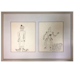 Dame Laura Knight Pen and Ink Clown Drawings