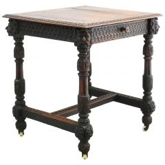 French Carved Oak Side Table French Gothic Revival, circa 1870