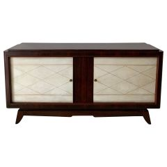 Art Deco Mahogany and Velum Sideboard