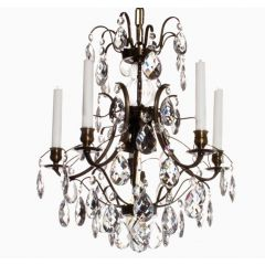 Baroque Chandelier with Five Arms and Three Lights