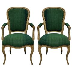 Pair of French Bleached Chairs in Hand Dyed Linen