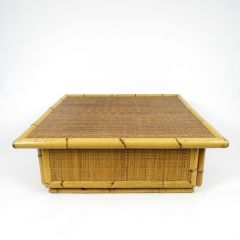 Bamboo and Rattan Coffee Table, 1970s