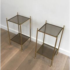 Pair of Neoclassical Style Brass Side Tables