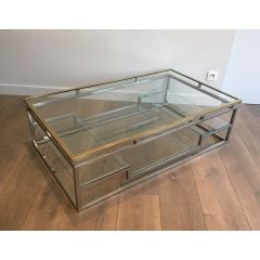 Brass and Chrome Design Coffee Table. French.