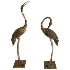 Pair of Decorative Chiseled Brass Herons