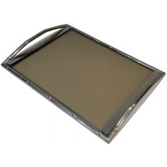 Jacques Adnet Style. Faux-Bamboo Chromed Tray