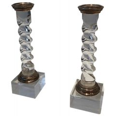Silver Plated and Lucite Twisted Candlesticks