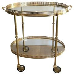 NEOCLASSICAL STYLE BRASS DRINKS TROLLEY. FRENCH
