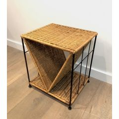Rattan and Black Lacquered Metal Side Table