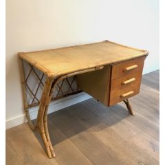 Attributed to Audoux Minet. Rattan Desk. French.